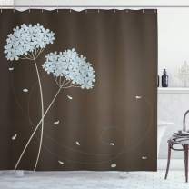 "Ambesonne Brown and Blue Shower Curtain, Floral Design with Swirl Lines Falling Leaves Autumn Inspired, Cloth Fabric Bathroom Decor Set with Hooks, 75"" Long, Brown Seafoam"