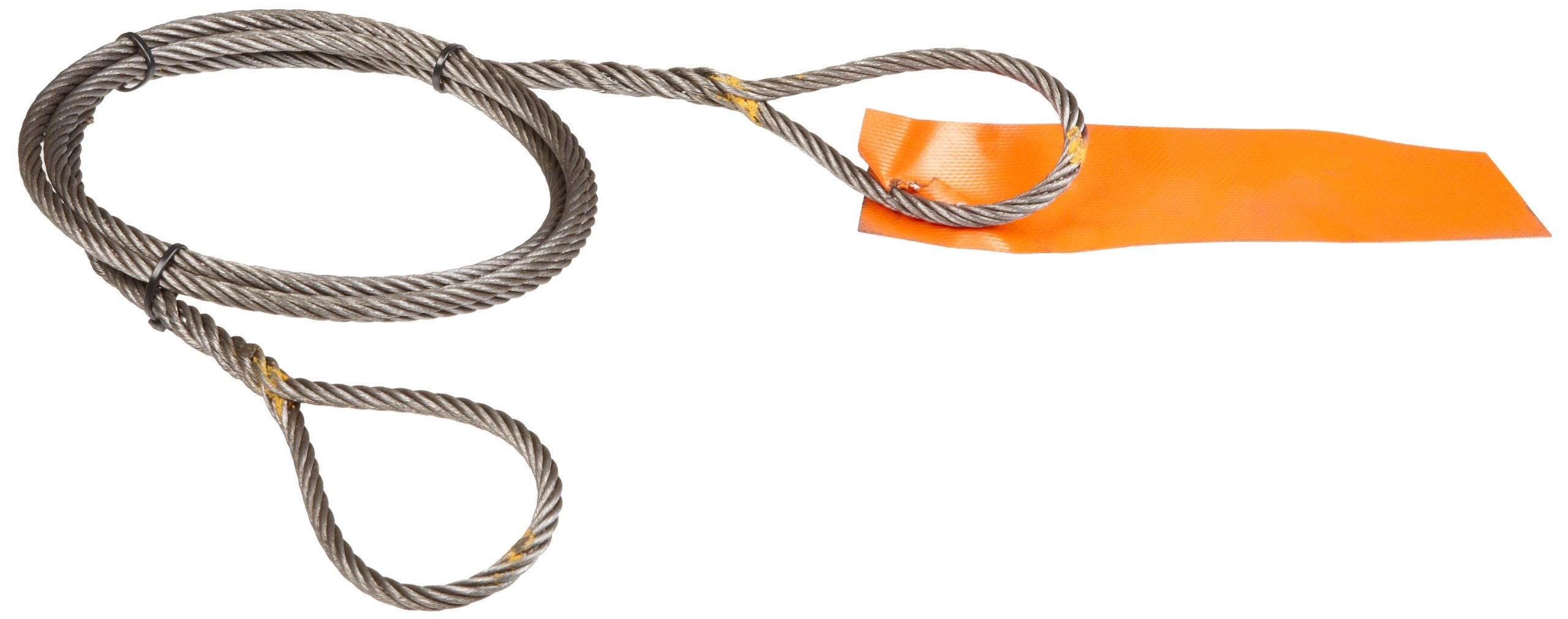 """Mazzella Hand Taper and Concealed Wire Rope Sling, Eye-and-Eye, 6 x 37 Fiber Core, 4' Length, 3/8"""" Diameter, 6"""" Eyes, 2400 lbs Vertical Load Capacity"""
