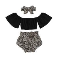 Baby Girl Leopard Shorts Set Toddler Kids Off Shoulder Ruffle T-Shirt Top+Leopard Pants 2Pcs Outfits