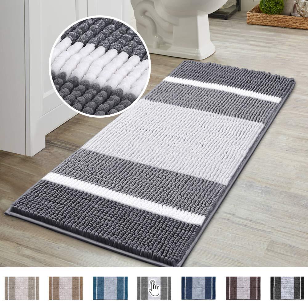 Flamingo P Super Cozy Chenille Microfiber Bathmat, Gradient Grey Stripe Pattern Soft Chenille Shaggy Rug for Bathroom, Slip-Resistant Absorbent Bathroom Floor Mat Machine Washable, (47×17 inch, Gray)