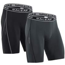 BALEAF Men's 9'' Nylon Compression Shorts Quick Dry Sports Tights 2 Pack Basketball Running