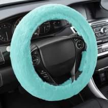 BDK Faux Fur Steering Wheel Cover for Women – Wool Sheepskin Fleece Warm and Cozy Comfort for Hands in Winter, Universal Fit for Steering Wheel Sizes 14.5 15 15.5 (Mint)