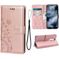 Wallet Case for Nokia 6.1 Plus/X6, 3 Card Holder Embossed Butterfly Flower PU Leather Magnetic Flip Cover for Nokia 6.1 Plus/X6(Rose Gold)