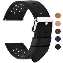 Fullmosa 5 Colors for Watch Band, Quick Release Breeze Leather Watch Strap 18mm 20mm 22mm 24mm