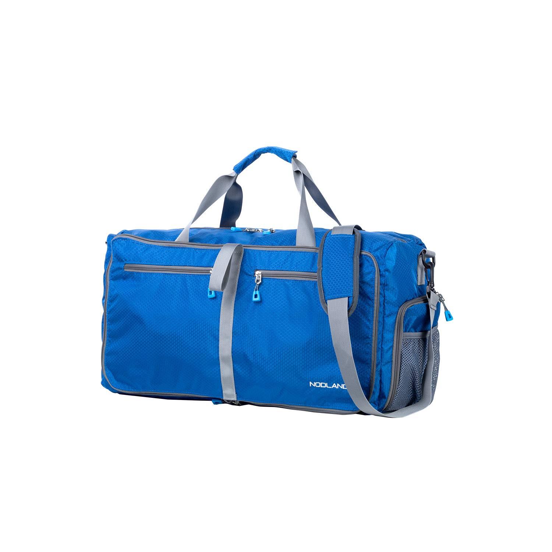 NODLAND 50L Packable Travel Duffle Bag Light Weight Foldable Duffel Bag, Water Resistant Gym Bag Blue