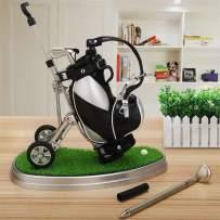 Golf Pens with Golf Bag Pen Holder and Base, Business Gifts Office Desktop Golf Pen Stand Miniature Model Decoration, Unique Gifts for Golfer Golf Club Fans Souvenir Women Men - Black