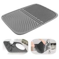 IYYI Silicone Dish Drying Mat Large Draining Mat Eco-Friendly Drainer Mat Heat Resistant Pot Mat Dishwasher Safe Trivet (Gray)