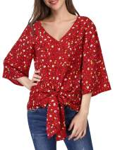 Womens Floral Blouses V Neck 3/4 Bell Sleeve Chiffon Casual Loose Tops Shirts