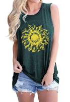 BLANCHES Tank Top Women Funny Graphic Vest Workout Cami Sunflower T Shirt Flowy Tunic Blouse Cute Dress Clothes