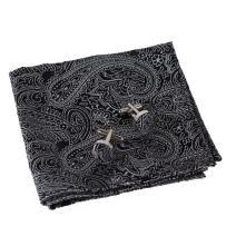 Epoint Men's Fashion Accessories Microfiber Pocket Square Pattern Cufflinks Set