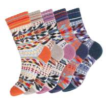 Urieo Cozy Warm Socks Khaki Cotton Pattern Medium Thermal Thick Winter Socks Casual Non Slip Knit Wool Crew Socks for Women and Girls (Pairs of 5)