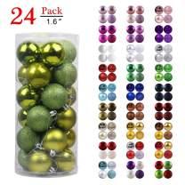 "Christmas Balls Ornaments for Xmas Tree - Shatterproof Christmas Tree Decorations Perfect Hanging Ball Lemon Green 1.6"" x 24 Pack"