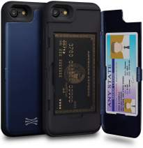 TORU CX PRO iPhone 8 Wallet Case Blue with Hidden Credit Card Holder ID Slot Hard Cover & Mirror for iPhone 8 / iPhone 7 / iPhone SE 2020 - Navy Blue