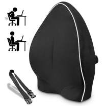 Lumbar Support Back Cushion,Back Pillow for Office Chair and Car Seat,Ergonomic Lumbar Support Pillow Memory Foam Orthopedic Backrest for Couch Sofa Reading Lower Sciatica with Adjustable Straps