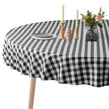 VEEYOO Spillproof Checkered Tablecloth Polyester Stain Resistant Wrinkle Free and Waterproof Table Cloth for Outdoor Picnic,Party, Home Dinner (Round Tablecloth, White & Black, 70 inch Dia)