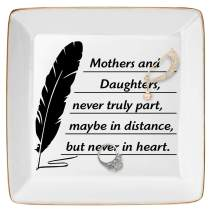 DOIOWN Ring Dish Jewelry Trays Gift for Mom Birthday Thanksgiving, Mothers and Daughters, Never Truly Part, Maybe in Distance But Never in Heart(Mother from Daughter Gift)