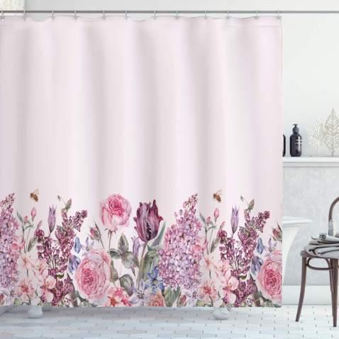 "Lunarable Mauve Shower Curtain, Vintage Watercolor Bouquet of Colorful Spring Garden Flowers Romantic Arrangement, Cloth Fabric Bathroom Decor Set with Hooks, 84"" Long Extra, Baby Pink"