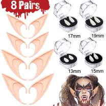 8 Pairs Cosplay Makeup Kit Accessories - 4 Vampire Fangs Teeth 4 Elf Ears, Vampire Elf Cosplay Prop New Year Eve Party Supplies Favors NYE 2020 Decoration Novelty Toys(13 mm,15mm,17mm,19mm)
