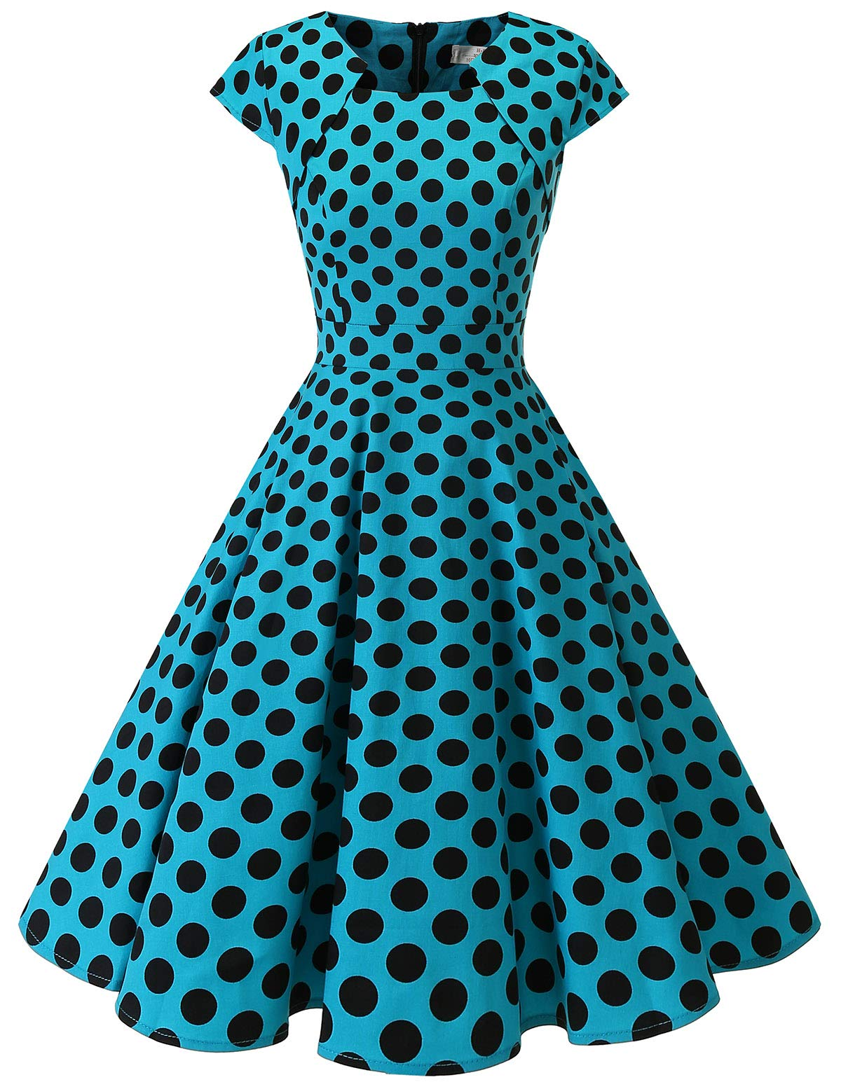Homrain Women's 1950s Retro Vintage A-Line Cap Sleeve Cocktail Swing Party Dress