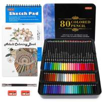 80 Colors Professional Colored Pencils, Shuttle Art Soft Core Pencil Set with 1 Coloring Book,1 Sketch Pad, 2 Sharpener, 1 Pencil Extender, Perfect Set for Artists Adult Beginners Sketching, Drawing