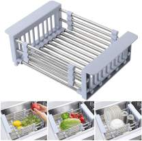 Expandable Dish Drying Rack Over Sink Stainless Steel Dish Basket Drainer with Adjustable Arms Functional Kitchen Sink Organizer for Vegetable, Fruit and Tableware