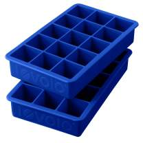 Tovolo Perfect Ice Mold Freezer Tray of 1.25-Inch Cubes for Whiskey, Bourbon, Spirits & Liquor, BPA-Free Silicone, Fade Resistant, Set of 2, Stratus Blue