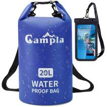 Campla Waterproof Dry Bag Backpack for Kayaking 10L 20L, Roll Top Lightweight Floating Waterproof Bag Dry Sack w/Strap and Watertight Phone Case for Boating,Swimming,Beach, Fishing and Water Sports