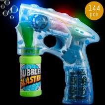 Lumistick Light-Up 7 Inch Bubble Blaster Gun | Transparent Glowing LED Blower Machine | Ultra Bright Glinting Air Bubbles Wand | Summer Games Toy (Blue, 144 Blasters)