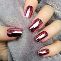 Victray Glossy Rose Red Press on Nail Full Cover Fake Nails Ballerina Nail Tips Coffin Acrylic False Nails for Women and Girls (24PCS)