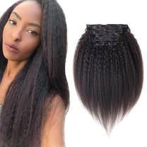 """Kinky Straight Clip ins Yaki Coarse Hair Extensions 24 inch Clip in Human Hair Extensions Super Thick Long 160 Gram Net Hair Natual Color Can Be Dyed 7 Peices/set 16 Clips (160g 24"""", Natural Black)"""
