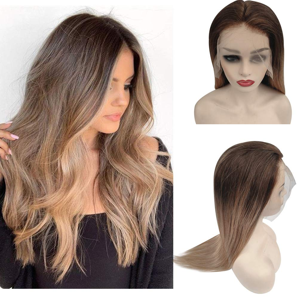 13X4 Lace Front Wigs 150% Density Straight Brazilian Human Hair Ombre Balayage Highlights Medium Brown With Strawberry Blonde Wig for White Women Pre Plucked Bleached Knots 18 Inch
