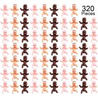 320 Pieces Mini Plastic Babies for Baby Shower and Ice Cube Games Party Decorations, Mini Plastic Bathing Products and Baby Party Favors (Deep Brown, Latin, Pink)