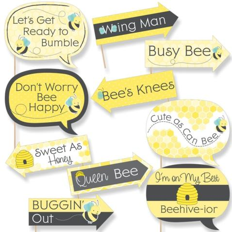Funny Honey Bee - Baby Shower or Birthday Party Photo Booth Props Kit - 10 Piece