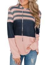 Lovezesent Womens Color Block Stripe Hoodie Drawstring Sweatshirts Pullover Tops