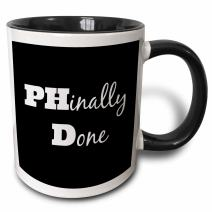 3dRose Phd, Phinally Done Mug, 11 oz, Black