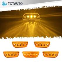 TCTAuto Compatible with Peterbilt 579 Kenworth T680 T770 T880 Amber Cab Marker Top Roof Running Lights Assembly 3LED with Reflective Amber Lens, Pack of 5