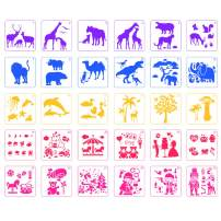 BAISDY 30PCS Plastic Drawing Painting Stencil for Kids Crafts Reusable Stencil on Wood Canvas Wall