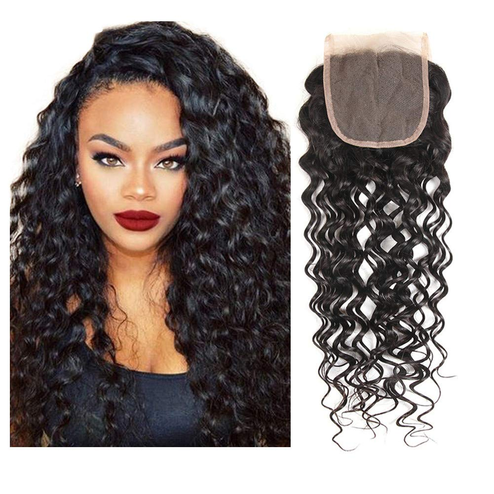 LOVBITE Water Wave Closure 18Inch Brazilian Human Hair 4x4 Water Wave Lace Closure Free Part Wet and Wavy Closure With Baby Hair 1Piece 130% Density (18 Inch)