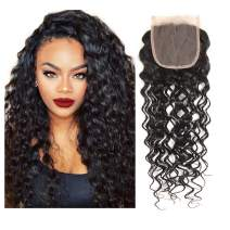 LOVBITE Brazilian Water Wave Closure Human Hair 4x4 Water Wave Lace Closure Free Part 10Inch Human Hair Wet and Wavy Closure Only With Baby Hair 130% Density Natural Color Virgin Human Hair Closure