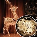 Autolizer 100 LED Warm White Fairy String Lights Battery Powered Lamp for Xmas Tree Holiday Wedding Party Decoration Halloween Restaurant or Bar and Home Garden - Control up to 8 Modes