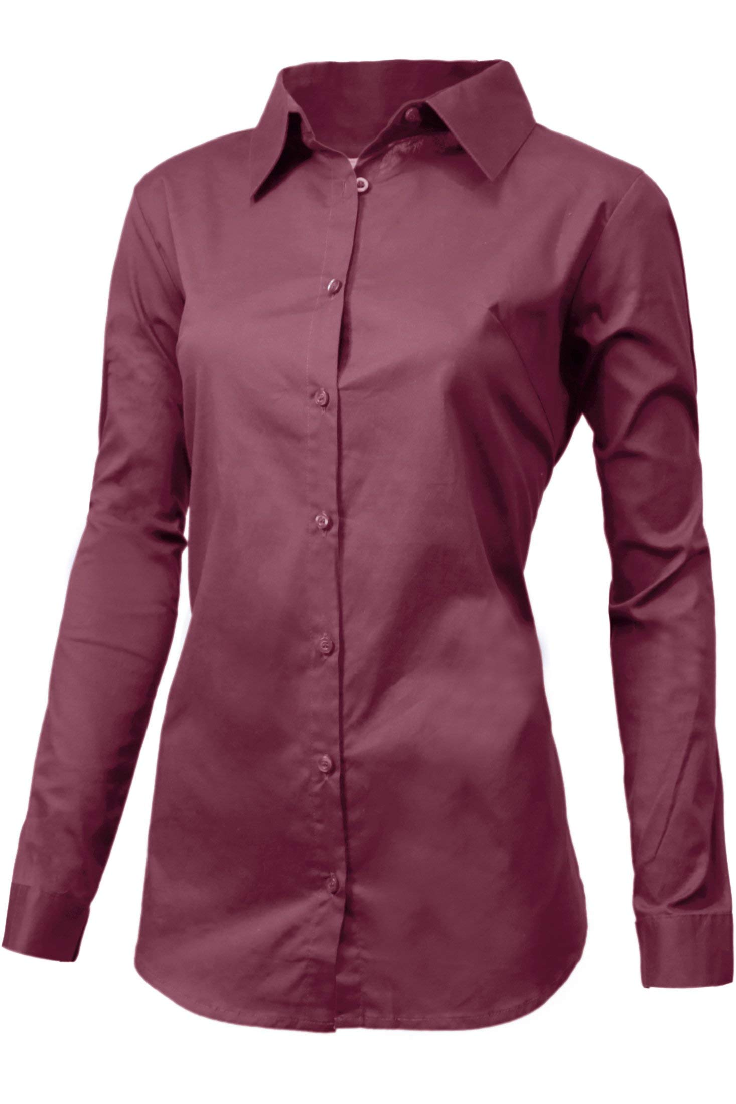 Women's Small to 3X Office Casual Stretchy Blouse Button Down Long Sleeve Shirt