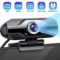 CLEEBOURG 1080P HD Webcam Web Camera Dual Built-in Microphones,Plug & Play USB Web cam with 110-Degree Wide View Angle Widescreen Webcam for Calling, Conferencing, Skype,YouTube,Video Conference