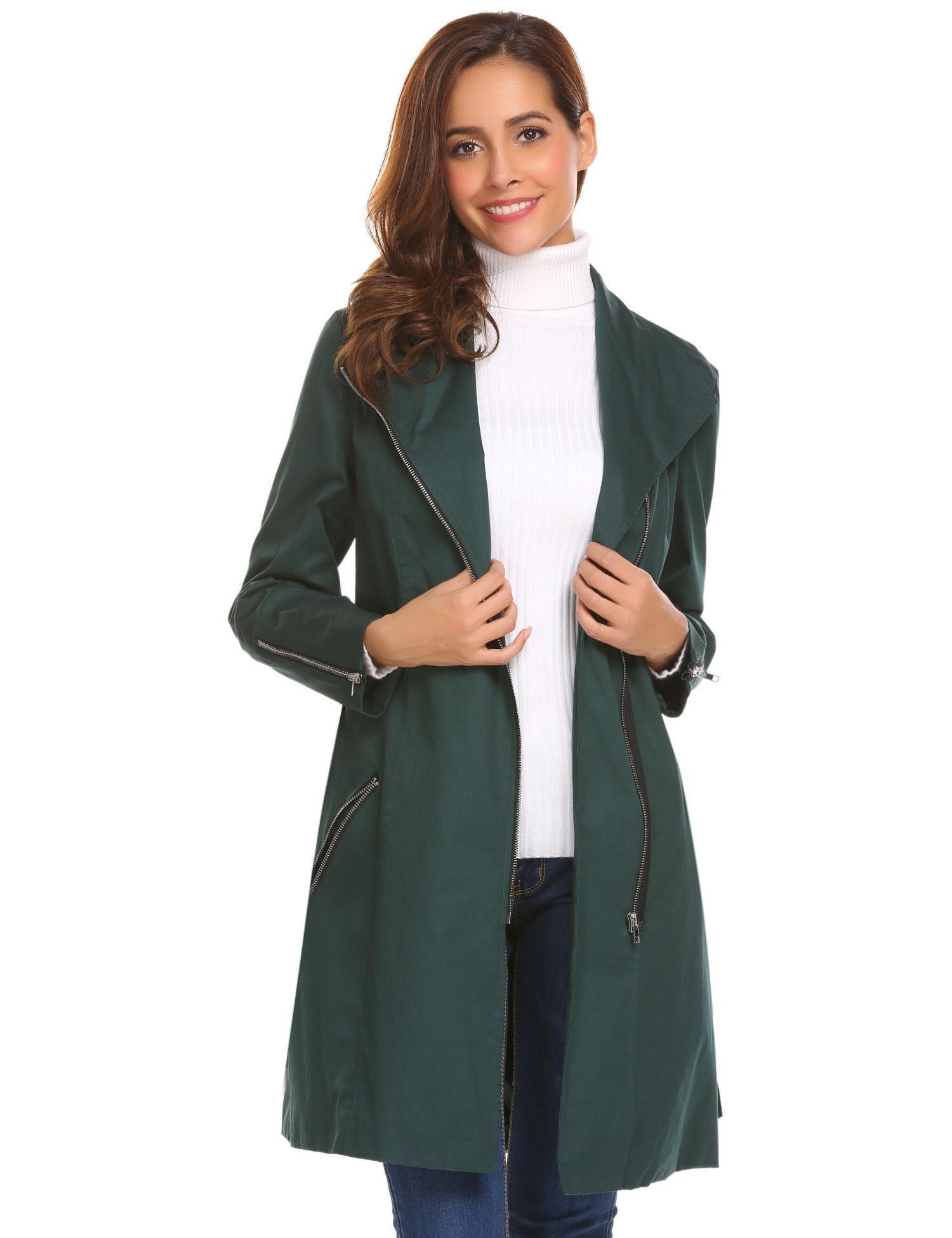 Zeagoo Elegant Lapel Zipper Pockets Long Trench Coat with Belt