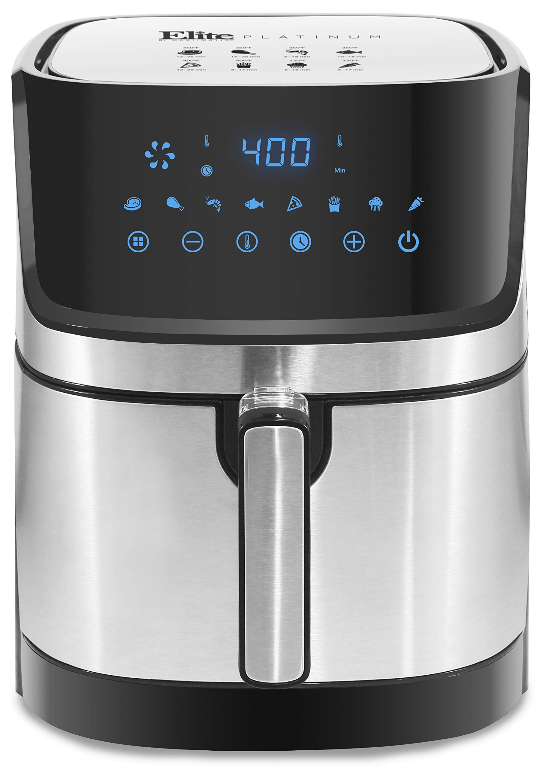 Maxi-Matic EAF-501SS Electric Digital Hot Air Fryer Oil-Less Healthy Cooker, 8 Menu Functions, Temp/Timer Settings, PFOA/PTFE Free, 1700-Watts, Stainless Steel 5.3 Quart