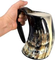 AleHorn Viking Drinking Horn - Genuine Ox Horn Tankard for Ale & Mead - Food-Grade Medieval Style Mug - Handcrafted Manly Beer Cup - Gift Idea for Anniversary, Birthday & Holidays - Large, Natural