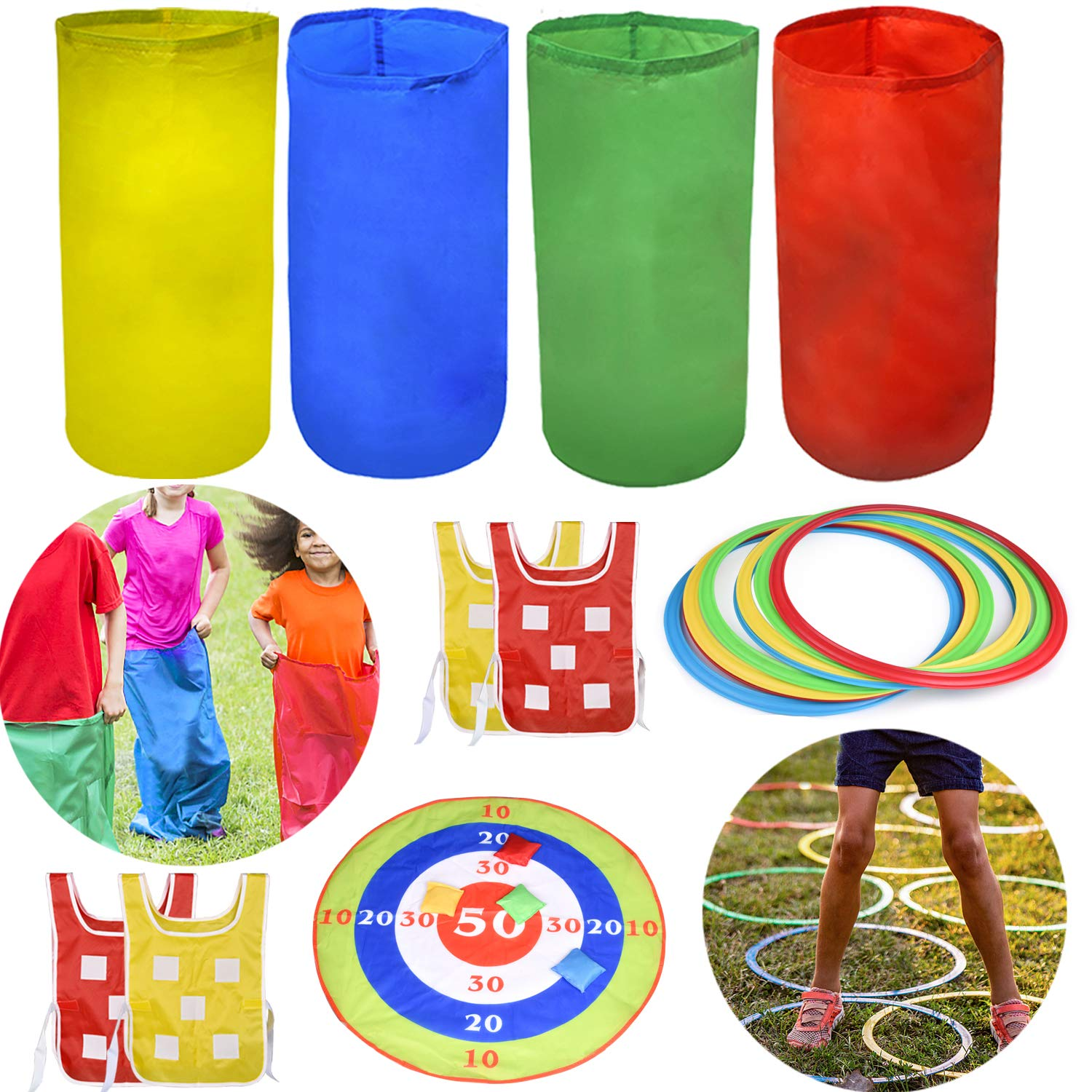 FUN LITTLE TOYS 4 Outdoor Lawn Games Includes 4 Potato Sack Race Bags, 8 Hopscotch Rings, Toss Game Set with 4 Bean Bags and 4 Chasing Race Game Vests, Kids Outdoor Toys Birthday Party Games
