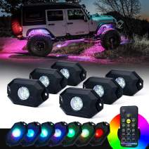 Xprite 6PCs LED RGB Rock Light Kit with Wireless Remote Control, Flashing, Auto Scroll Modes, Multicolor Neon Lights Pod for Underglow Off Road, Truck, Jeep, UTV, ATV, SUV