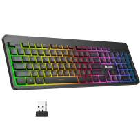 KLIM Light V2 Rechargeable Wireless Keyboard US Layout+ Slim, Durable, Ergonomic + Backlit Wireless Gaming Keyboard for Laptop PC Mac PS4 Xbox One + Long-Lasting Built-in Battery+ New 2021