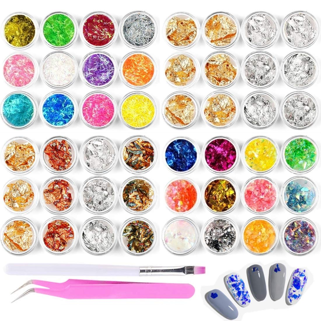 48pcs Nail Art Stickers & Decals Kit - Rose Gold Silver Nail Paillette Chip Foil Nail Glitter, Ice Mylar Shell Foil Slice, Ultra-thin Laser Sticker Nail Stripe Line, with a Tweezer and a Nail Brush