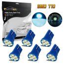 Partsam 6pcs Ice Blue T10 168 194 2825 8SMD LED Bulbs for License Plate Lights 12V